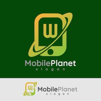 Smart mobile anfangsbuchstaben w logo design