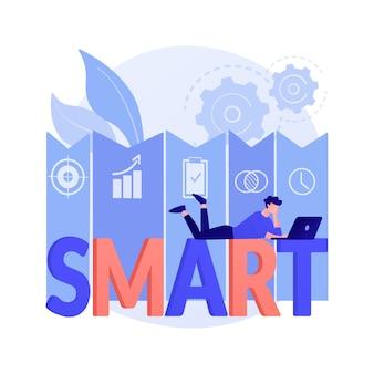 Smart objectives abstrakte konzeptillustration