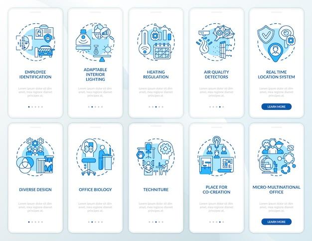 Smart office-planung onboarding-bildschirm für mobile app-seiten mit festgelegten konzepten