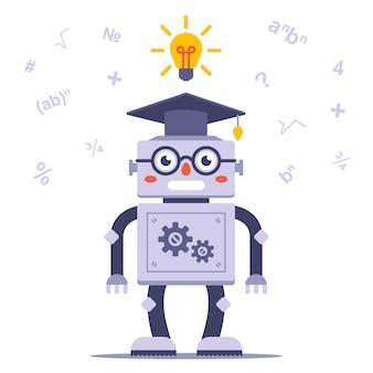 Smart robot mit brille löst das problem. flache zeichenvektorillustration.