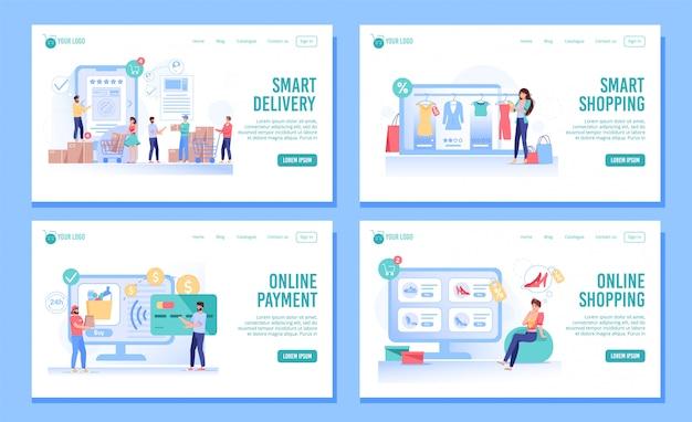 Smart shopping, bestellung, lieferung landing page set