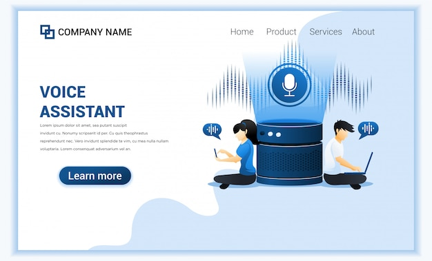 Smart speaker, voice assistant-konzept mit charakteren.