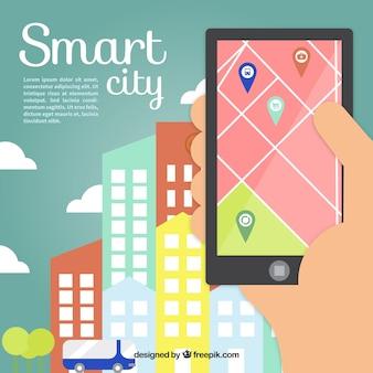 Smart-stadt-hintergrund mit gps