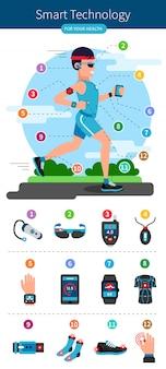 Smart technology line infografik