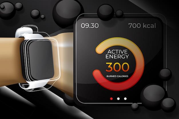 Smart uhren 3d mit fitness-app