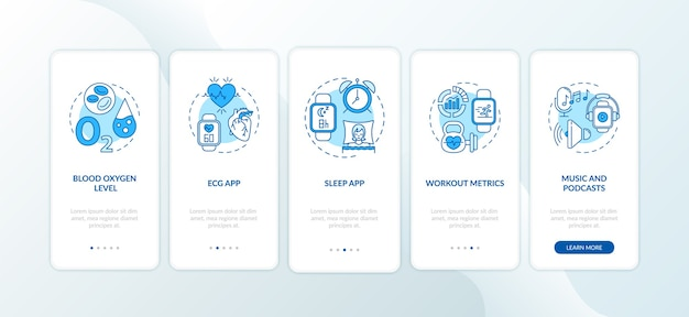 Smart watch-funktionen integrieren den seitenbildschirm der mobilen app mit konzepten