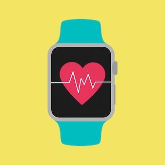 Smart watch gezeigt heartbeat auf dem bildschirm mit gelbem hintergrund.