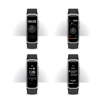 Smart watch mit digital display set illustration
