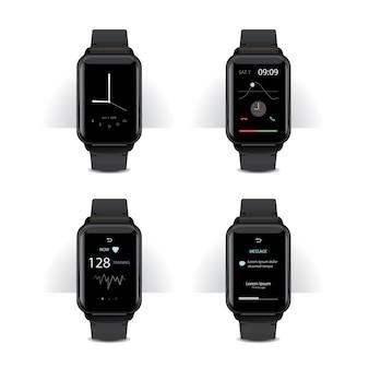 Smart watch mit digitalanzeige set vektor-illustration