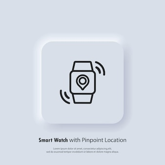 Smart watch mit genauer standortbestimmung. transportplan für mobile app-benachrichtigung im nachtmodus-design. ankunftszeit auf dem bildschirm. gps-tag auf dem smartwatch-display.