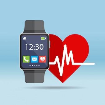 Smart watch mit herzfrequenz-symbol