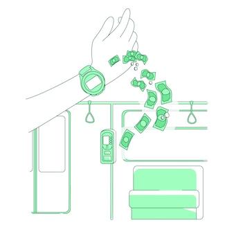 Smart watch thin line konzept illustration. elektronische zahlung, person, die e-ticket 2d-zeichentrickfigur für webdesign kauft. nfc-technologie, tragbare smart device kreative idee
