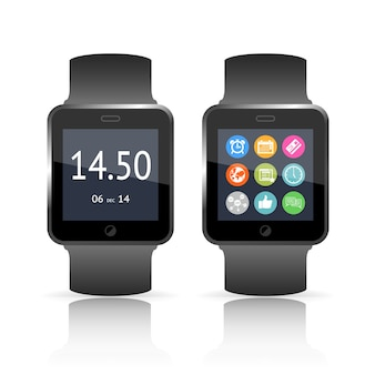 Smart watch vektor-illustration mit zwei versionen, von denen eine die uhrzeit auf dem zifferblatt und die zweite einen satz bunter funktions- und app-symbole zeigt