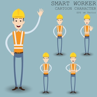 Smart worker zeichentrickfigur