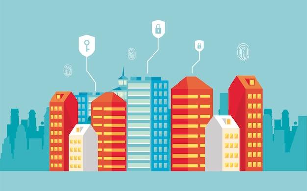 Smartcity mit sicherheitssymbolen