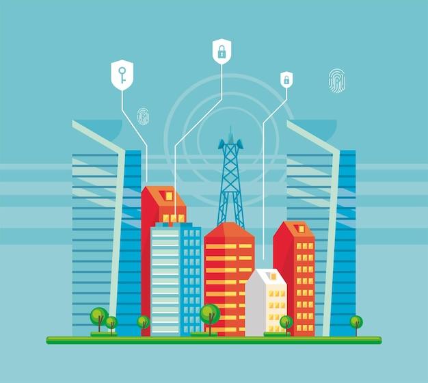 Smartcity-szene mit sicherheit