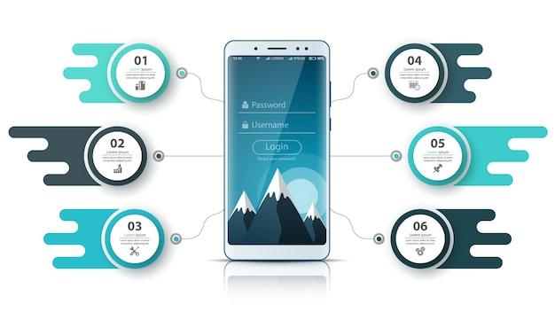 Smartfone-geschäftsinfografik. geschäftsgrafik