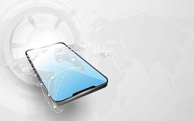 Smarthphone mit weltkarte verbindung