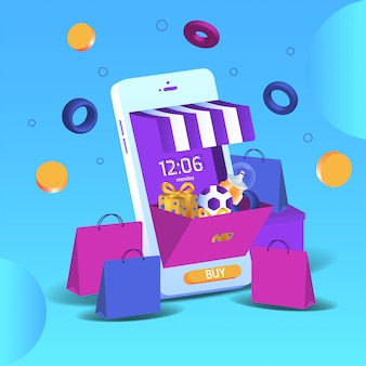Smartphone 3d online-shopping von marketing und digitalem marketing. mobile anwendungen und website-konzepte. vektorillustration