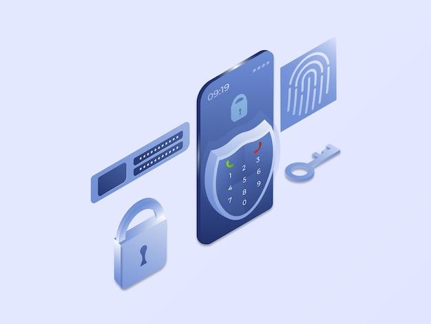 Smartphone-antivirus-datenschutz mit schildsymbol 3d isometrische vektorillustration