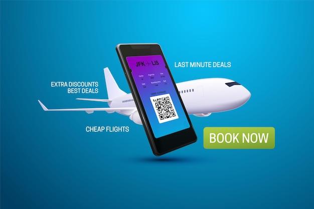 Smartphone-anwendung zum kauf von flugtickets werbebanner