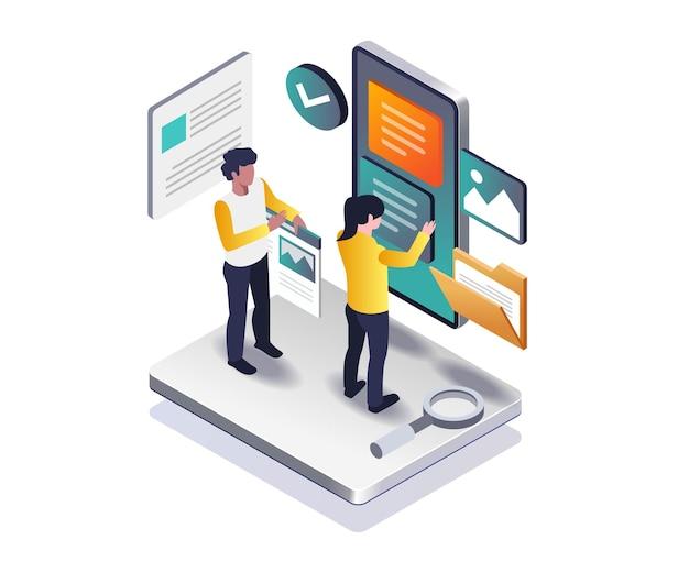 Smartphone-app-layout im isometrischen design