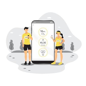 Smartphone-app zum verfolgen des gesundheitszustands smartphone-symbole zur überwachung