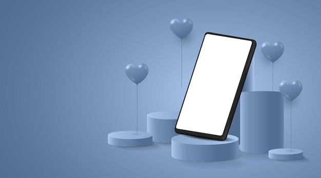 Smartphone auf der bühne oder auf dem podium für die produktpräsentation