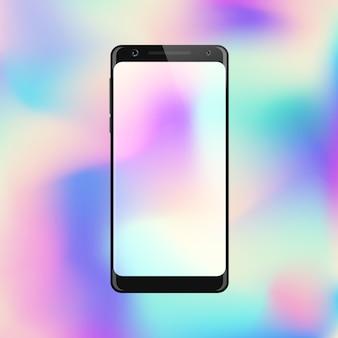 Smartphone auf steigunghintergrund. handy mit abstraktem buntem bildschirm