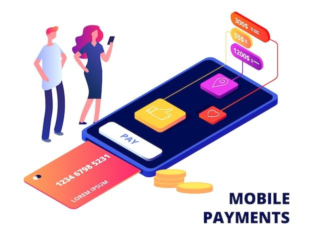 Smartphone-banking-app auf smartphone mit menschen