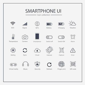 Smartphone benutzeroberfläche icon-sammlungssatz.