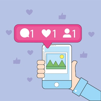 Smartphone-bild in der hand und social-chat