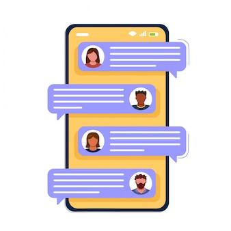 Smartphone-bildschirm mit chat-blasen, textnachrichten