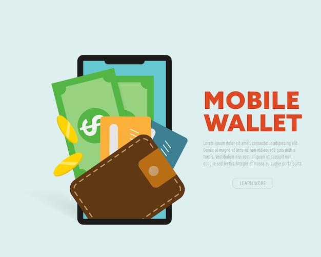 Smartphone-bildschirm mit digitaler geldbörse und kreditkarten.