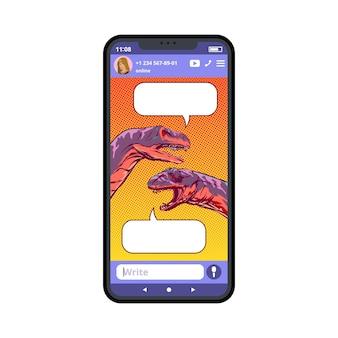 Smartphone-bildschirm mit gezeichneten dinosauriern im dialog. pop-art-stil. illustration.