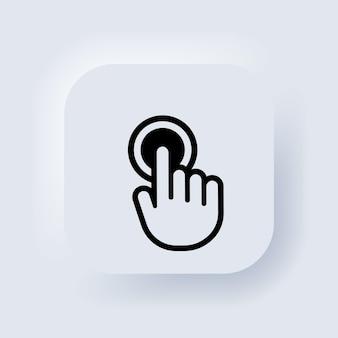 Smartphone-bildschirm mit klickendem finger. hand-zeiger-symbol. hand-touchscreen-smartphone-symbol. cursor-symbole vektor. neumorphic ui ux weiße benutzeroberfläche web-schaltfläche. neumorphismus. vektor-illustration
