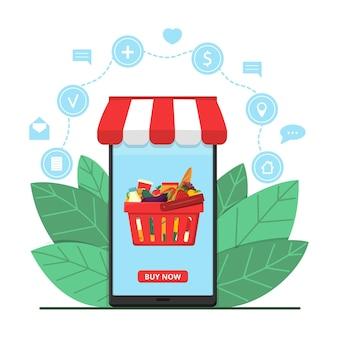 Smartphone-bildschirm zeigt online-shop mit lebensmittelkorb