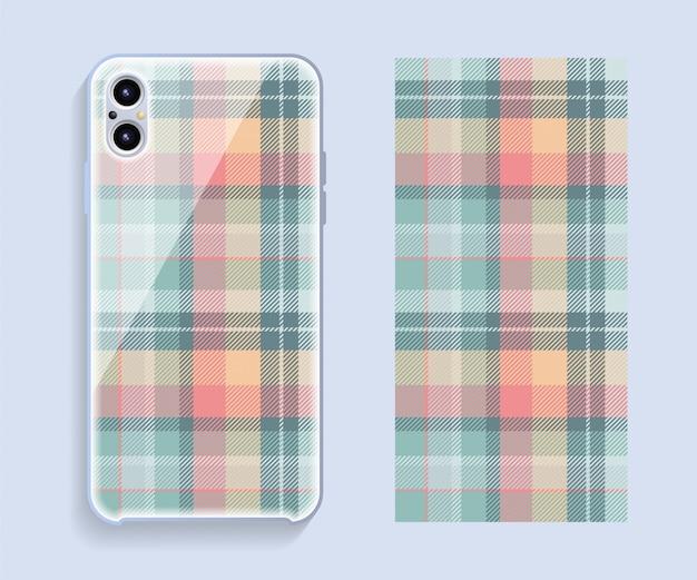Smartphone-cover-design-modell. geometrisches muster der vorlage für den hinteren teil des mobiltelefons. flaches design.