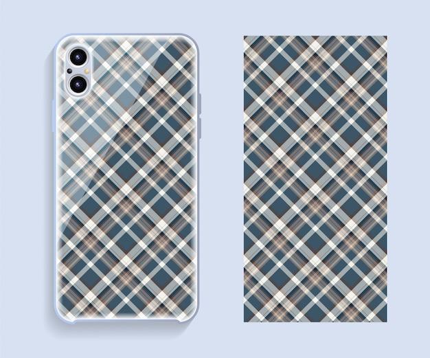 Smartphone-cover-modell. geometrisches muster der schablone für handy-rückenteil. eben .