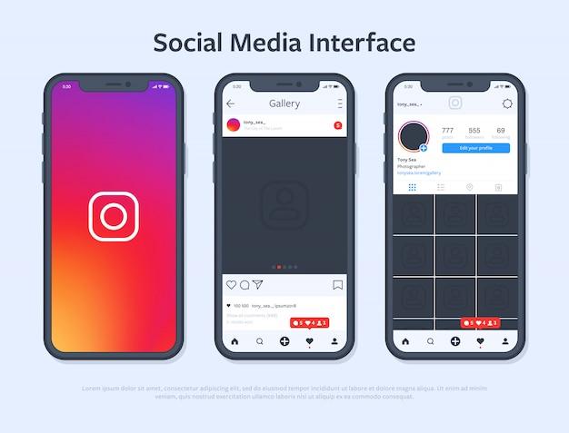 Smartphone-design mit social media-schnittstelle