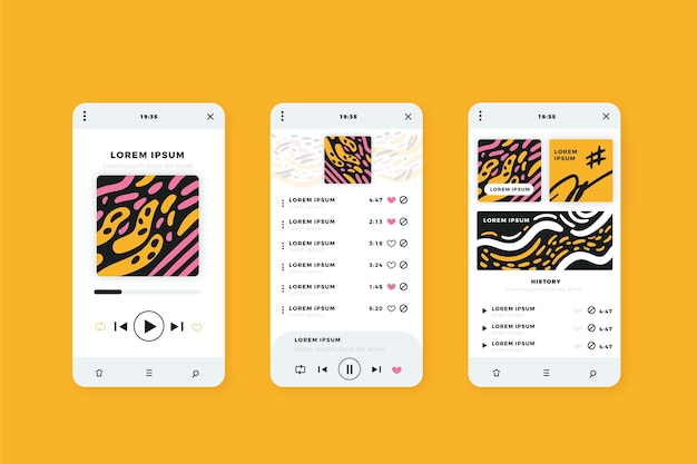 Smartphone-desktop mit musik-media-player