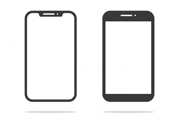 Smartphone die form eines modernen mobiltelefons entwickelt, um eine dünne kante zu haben.