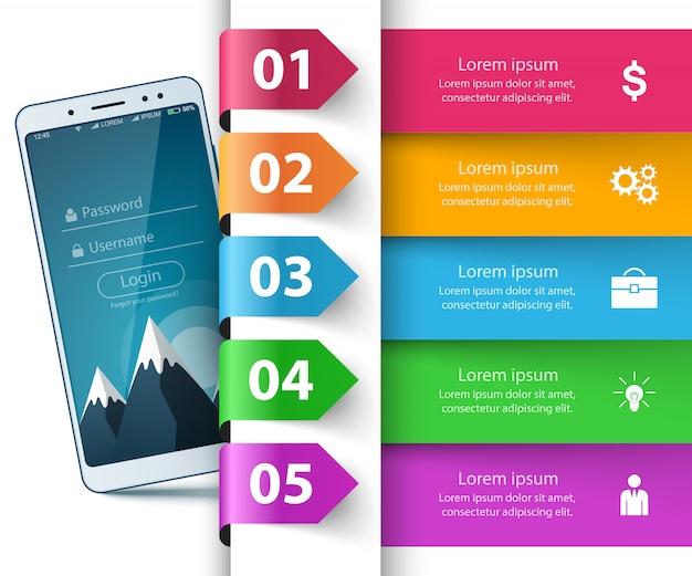 Smartphone, digitales gerät - geschäftsinfografik