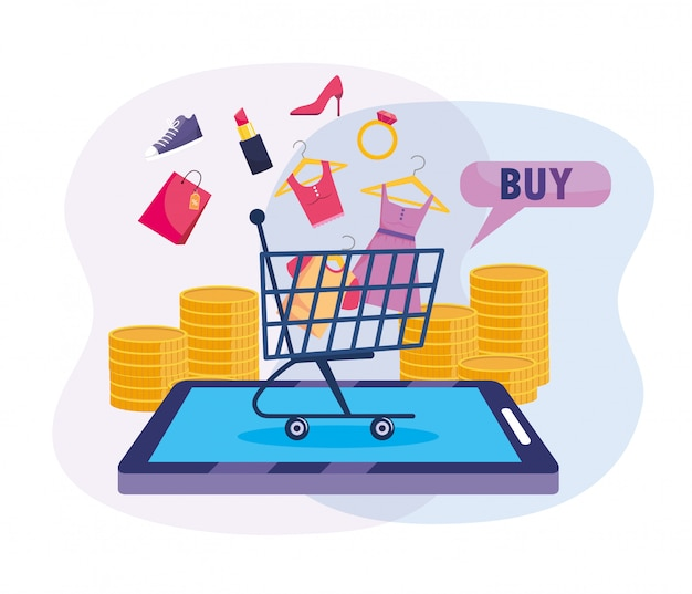 Smartphone e-commerce-technologie mit warenkorb