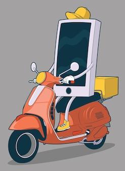Smartphone food delivery illustration. designkonzept für essen, werbung und take-away