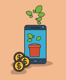 Smartphone-gerät mit blumentopf im bildschirm und münzen