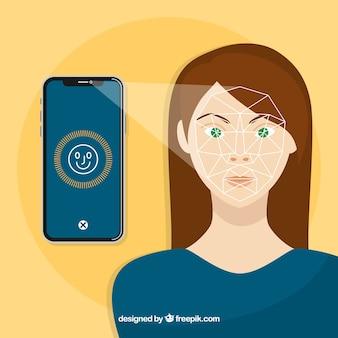 Smartphone gesicht id-konzept mit böse frau