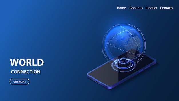 Smartphone globales netzwerk isometrische illustration technologie digitaler 3d-globus verbindungsdatendienst