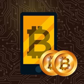 Smartphone golden Bitcoins Währung digitaler Handel