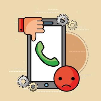 Smartphone-helpline schlecht unglücklicher kundenservice